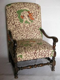 """West Wind"" fabric by Duncan Grant, covering an arm chair at Charleston Artist House, Furniture, Chair, Interior, Charleston Homes, Bloomsbury Group, Painted Furniture, Bloomsbury, Home And Garden"