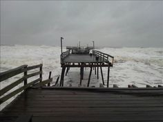 Avalon Pier | OBX Connection Message Board / Hurricane Sandy's waves have cut the Avalon Pier in half. 10/29/12