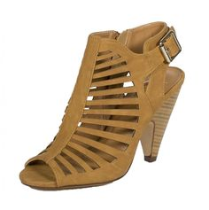 Delicious Womens Shaky Cut Out Peep Toe Stacked Faux Wood Heel Side Zipper and Ankle Buckle Strap Nubuck Leatherette Sandal, tan, 8.5 M US ** Check out this great product.