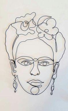 Frida Kahlo Sculpture, One line Frida Kahlo, Steel Wire Friducha Frida Kahlo Steel Wire Wall Sculpture Wire Wall Art Wire Wall Decor Art Office Decor Art Sketches, Art Drawings, Wire Wall Art, Frida Art, Wall Sculptures, Sculpture Art, Line Drawing, Drawing Art, Printable Wall Art