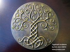 Yggdrasil: The Tree of Life. Cold-cast Relief Sculpture with (new for 2015) antique BRASS finish with green patina leaves. Norse Viking Mythology