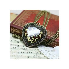 Retro and Unique Style Loving Heart Shape and Leopard Pattern... ($1.19) ❤ liked on Polyvore featuring jewelry, necklaces, leopard jewelry, retro jewelry, retro necklaces, heart necklace and leopard print jewelry