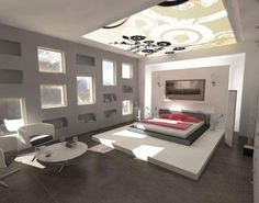Wonderful Gray Bedroom Paint Designs Ideas with Glass Ceiling : Home Improvement | Home Interior Design