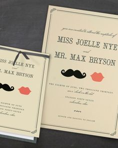 """See the """"Mustache-Themed Invitation"""" in our Vintage-Style Wedding Invitations gallery"""