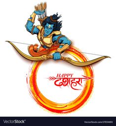 illustration of Lord Rama with arrow in Navratri festival of India poster with H… Navratri Greetings, Holi Greetings, Navratri Wishes, Durga Puja Wallpaper, Shri Ram Wallpaper, Festivals Of India, Indian Festivals, Dussera Wishes, Holi Greeting Cards
