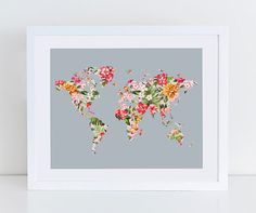 Floral world map art print instant download printable decor floral world map poster art print instant by decorartdesign gumiabroncs Gallery