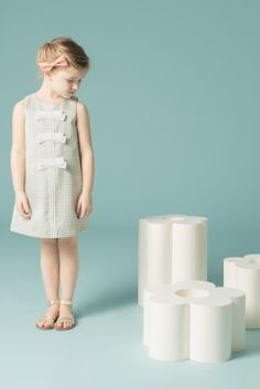 Lovely decoration on this simple shift dress by Hucklebones for kids fashion spring 2015