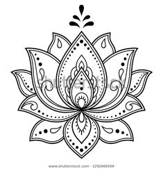 Mehndi Lotus flower pattern for Henna drawing and tattoo. - Mehndi Lotus flower pattern for Henna drawing and tattoo. Decoration in ethnic oriental, Indian sty - Henna Drawings, Flower Tattoo Drawings, Flower Tattoo Designs, Flower Tattoos, Wrist Tattoos, Henna Patterns, Flower Patterns, Embroidery Patterns, Lotus Drawing