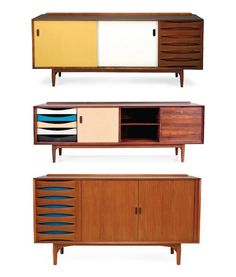 Some of the nicest credenza's made during the were those of designer Arne Vodder. Often noted for their use of color and lack of metal hardware these simple designs were meant to be affordable, fun, and functional. 1950s Furniture, Mid Century Modern Furniture, Home Furniture, Furniture Design, 1950s Home Decor, Minimalist Furniture, Furniture Inspiration, Home Decor Styles, Painted Furniture