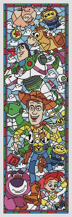 Disney cross stitch pattern Toy story. Stained glass collection. Cross stitch pattern in PDF. NOT A PHYSICAL PRODUCT! __________________________________________________________________________________ BUY 2 PATTERNS AND GET 1 FREE! How: Buy 2 patterns and send me link of 3 in your