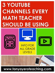 Teachers can use technology to make their lives easier. Read about three math YouTube channels that all elementary teachers and middle school teachers should be using. Mashup Math, Mathantics, and Khan Academy are included! Math Teacher, Math Classroom, Teaching Math, Classroom Resources, Teaching Tips, Math Lesson Plans, Math Lessons, Fifth Grade Math, Fourth Grade
