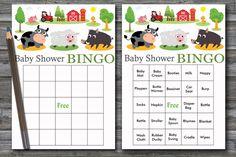60 farm animals baby shower bingo, farm baby shower bingo,cow baby shower bingo,sheep baby shower bingo cards,farm animals bingo cards,BG187 Baby Bingo, Baby Shower Bingo, Baby Shower Printables, Cow Baby Showers, Star Baby Showers, Blank Bingo Cards, Free Diapers, Shower Gifts, Farm Animals