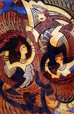 Cyril E. Power ~ Fire Dance, c.1931 (linocut)