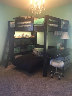 I build this Loft Bed with Floating Desk and Futon. facebook.com/loftmonkey loftmonkeycleveland @ gmail.com