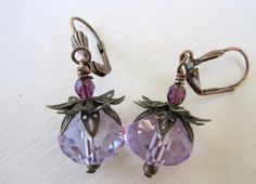 Glass Bead Earrings - Purple/Periwinkle  $17.00