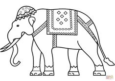 Indian Elephant Coloring Pages Printable Cute Halloween Coloring Pages, Mom Coloring Pages, Fish Coloring Page, Butterfly Coloring Page, Animal Coloring Pages, Free Printable Coloring Pages, Happy Elephant, Cute Elephant, Spongebob Coloring