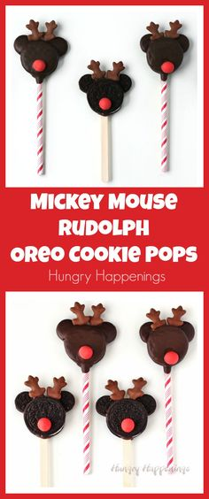 It's so easy to turn store bought cookies into these cute Mickey Mouse Rudolph Oreo Cookie Pops for Christmas. Your kids will love making and eating these sweet holiday treats.