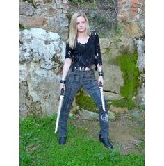 Wasteland Post Apocalyptic Women's Charcol Black Jean Walking Dead Inspired