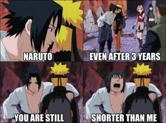 There Sasuke is 16 years old and just 168 cm tall. What have Naruto done to be smaller than 168 cm?
