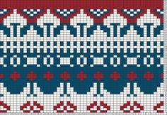 Scandinavian Motif Red Blue, by VickiM / Tricksy Knitter