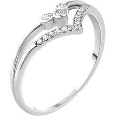 "14K White 1/10 CTW Diamond ""V"" Ring #MyStullerStyle page #294"