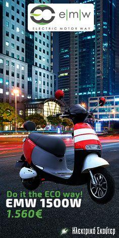 Ηλεκτρικό σκούτερ EMW 1500W. Explore the City. Do it the ECO way!  #electric_scooter #scooter #emw #eco Electric Scooter, Electric Motor, Scooters, Motorcycle, Vehicles, Electric Moped Scooter, Biking, Motorcycles, Vespas