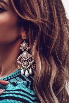 Elizabeth Cole statement pearl earring - perfect evening accessory