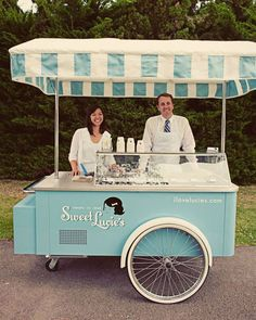 lovely vintage ice-cream cart. Could bring tiny cones of Graeters Blackberry ice cream.
