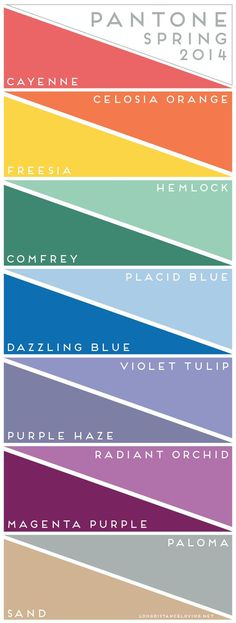 You will see fashion trends in these colors which makes finding wardrobe easy. pantone color report: spring 2014