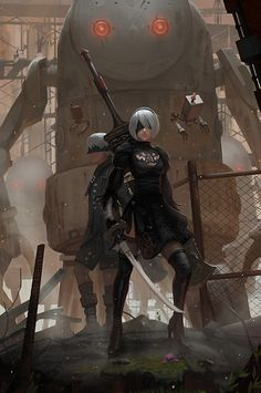 Steampunk fantasy warriors with steam-mech support  Nier Automata by yagaminoue on DeviantArt