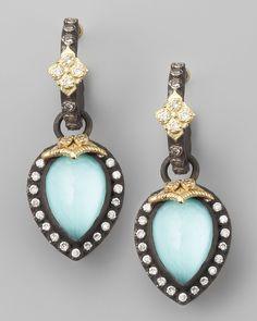 Pear-Cut Turquoise Earrings  - Armenta ( Earrings Dangle Teardrop earrings Blue Gray Gold - yellow Silver Gold - color Diamond Pear / teardrop shape)
