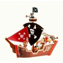 Pirate Ship Toy by Djeco - Minibugs Boutique. This fantastic wooden pirate ship is part of Djeco's Arty Toys. Best Kids Toys, Toys For Boys, Showroom, Arty Toys, Bateau Pirate, Pirate Boats, Diy Cardboard, Cool Toys, Kids Playing