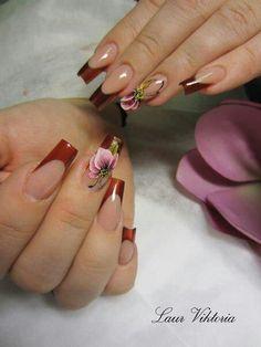 Nails Fancy Nail Art, Floral Nail Art, Fancy Nails, Cute Nails, Pretty Nails, Glam Nails, Beauty Nails, Nail Ink, Cherry Blossom Nails