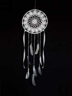 Bohemian dream catcher white crochet lace white doily by wincsike, $58.00