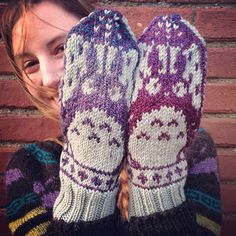 "Ravelry: spincycleyarns' Totoro Mitts // shown in Dyed In The Wool from Spincycle Yarns, colorway ""Nostalgia"" and Plymouth DK superwash"