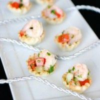 A delicious fake out recipe for shrimp ceviche that uses frozen and defrosted pre-cooked shrimp served in phyllo cups.