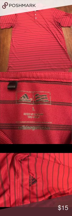 Adidas golf polo Adidas golf polo. There are 3 stains on the front (seen in first picture) adidas emblem on the sleeve. Size L Adidas Shirts Polos