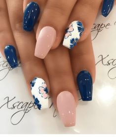10 Spring Nail Designs That Will Make You Excited For Spring nail art designs 2019 nail designs for short nails 2019 full nail stickers nail art stickers how to apply best nail stickers 2019 Cute Acrylic Nails, Acrylic Nail Designs, Nail Art Designs, Flower Nail Designs, Pretty Nail Designs, Navy Nail Designs, Royal Blue Nails Designs, Fancy Nails Designs, Accent Nail Designs