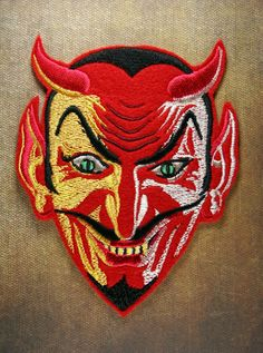 Embroidered 7-Color Red & White Devil Patch - Demon Krampus Halloween Mephisto #TheBlackBroom