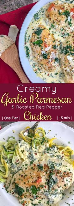 Creamy Garlic Parmesan and Roasted Red Pepper Chicken. The chicken is pan-seared and combined in a delicious, creamy sauce combining all the perfect flavors of parmesan cheese, spinach, roasted red peppers, and garlic. Chicken Stuffed Peppers, Pepper Chicken, Tomato Cream Sauces, Pan Seared Salmon, Cooking Recipes, Healthy Recipes, Budget Recipes, Top Recipes, Healthy Meals