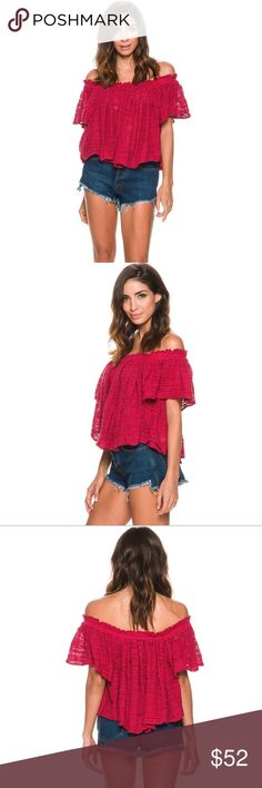 Free People Thrills and Frills Off The Shoulder Free People Thrills And Frills off shoulder shirt.  Women's shirt.  Off shoulder design.  Made with ultra soft thick woven premium cotton blend.  Elastic ruffled neck and shoulder hems for a secure fit.  Length from shoulder to hem: 19 inches.  81% Cotton, 19% Nylon.  Hand wash cold, air dry.  Imported.  Vendor style #: OB504539.   Please review all pictures and measurements. Free People Tops