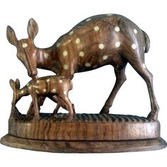 Hand Carved Wood Deer OOAK Lighter inlaid Blonde Wood Figurine Vintage