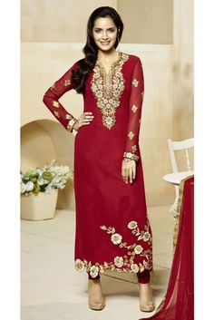 441241 Red and Maroon color family Bollywood Salwar Kameez in Faux Georgette fabric with Machine Embroidery,Resham,Stone,Thread,Zari work . Dress Indian Style, Indian Dresses, Salwar Kameez Online, Shalwar Kameez, Kurti, Indian Suits, Punjabi Suits, Desi Clothes, Churidar
