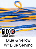 blue and yellow with blue serving custom bow string color
