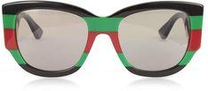 Gucci GG0276S Color Block Oversize Cat Eye Acetate Sunglassesw/Sylvie Web Temples