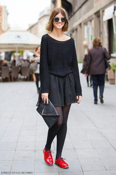#Zagreb #street #style #seconds #fashion #black #sweater #skirt #bag #red #shoes #gorgeous #style #stylish