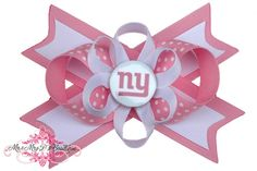 Pink New York Giants Hair Bow