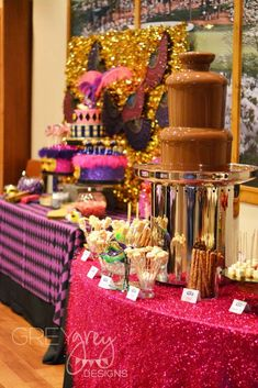Chocolate fountain at a masquerade birthday party! See more party planning ideas at CatchMyParty.com!