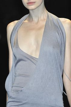 Double layered dress with asymmetrical cut & fluid drape; fashion details // Haider Ackermann