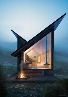 Tree House Designs, Small House Design, Modular Cabins, Tiny Cabins, Tyni House, Hanging Fireplace, Refuge, Cabin Design, Best Interior Design